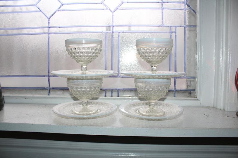 one of a kind vintage hobnail pedestal ice cream bowls!
