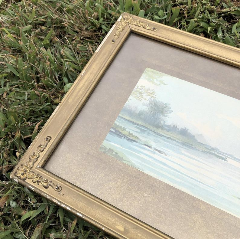 vintage watercolor painting, framed from the 1930s.  One of a kind home decor find.