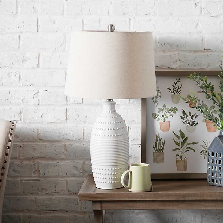 white lamp with white lamp shade