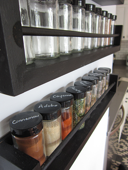 kitchen storage ideas, spice rack on wall