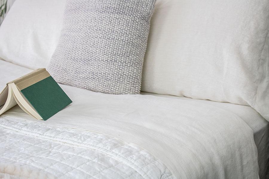 white belgian linen bedding