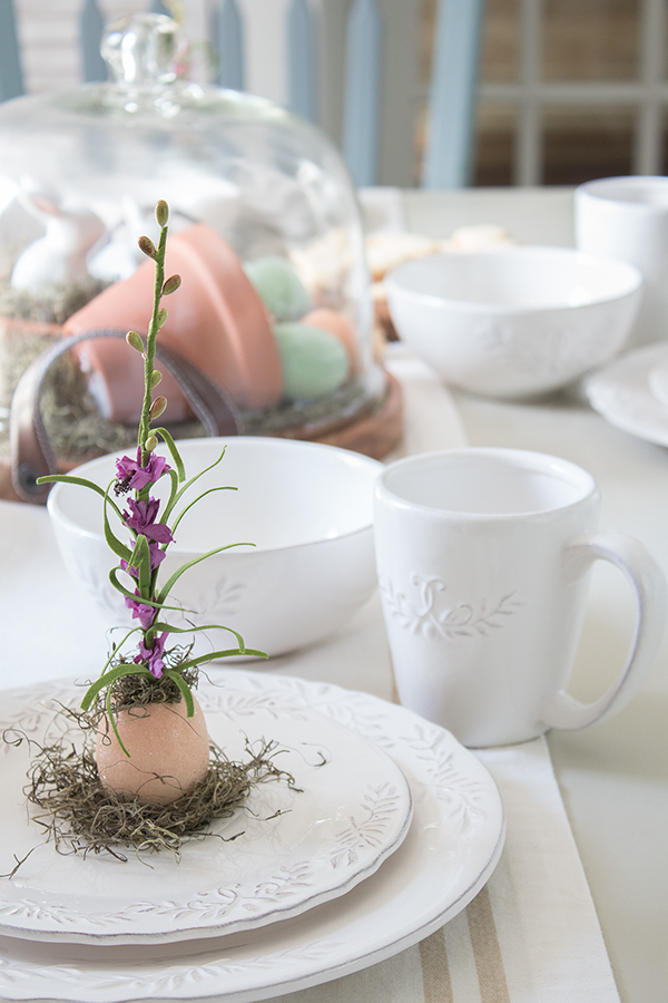 farmhouse style white dishes for Easter table setting