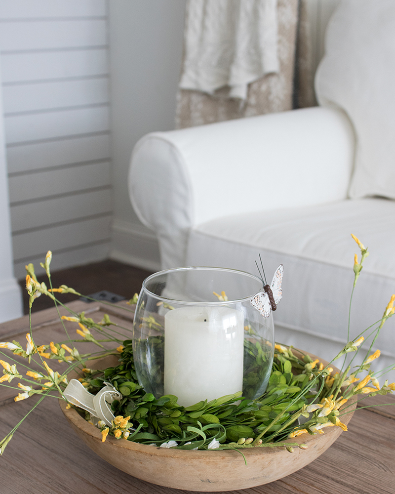 creating a spring centerpiece with preserved boxwood and faux wildflowers
