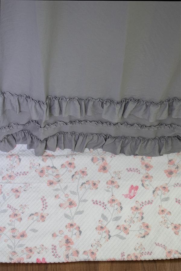 ruffled shower curtain, long length in gray
