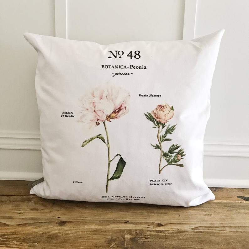 botanical floral pillow cover