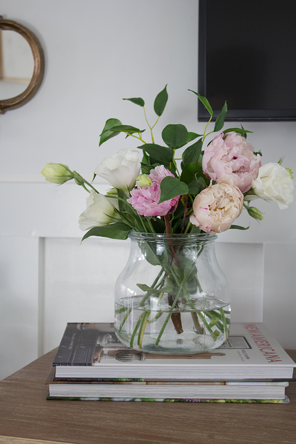 lisianthus and peony display floral