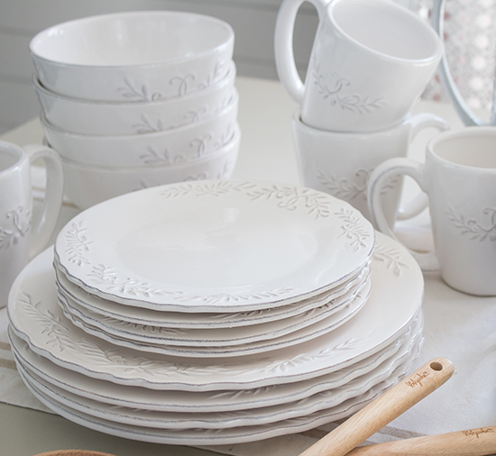 the most perfect set of pretty white dishes great for everyday use as well as for special occassions