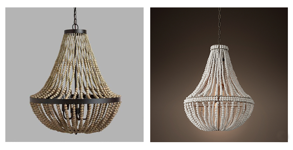 wood beaded chandeliers