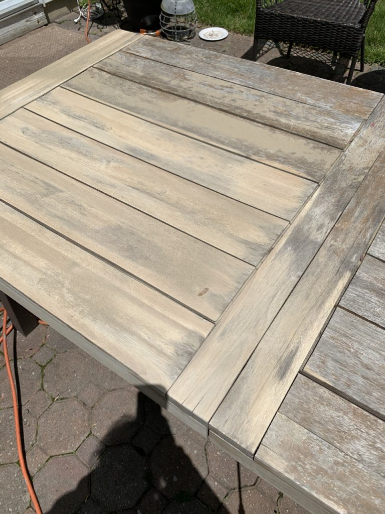 restoring outdoor wood furniture, teak table