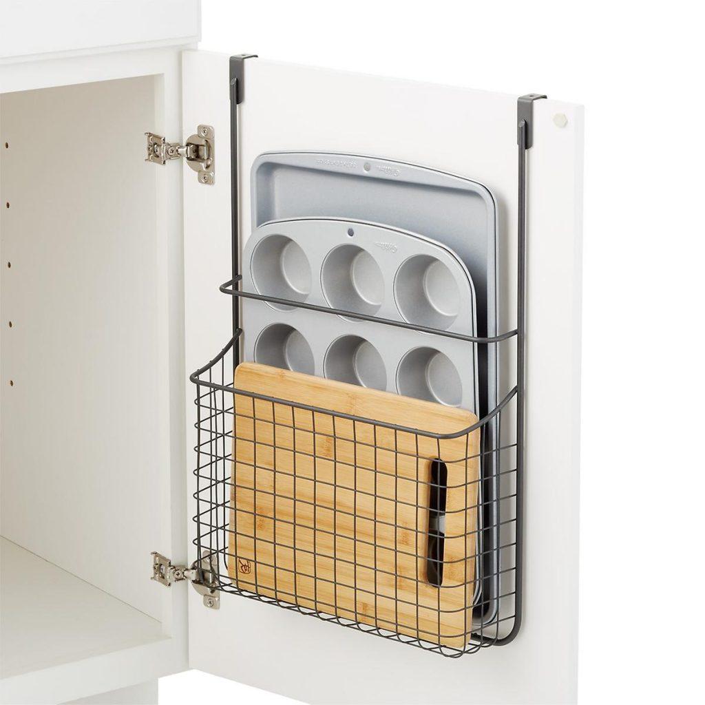 over the door cabinet organizer helps reduce countertop clutter in the ktichen