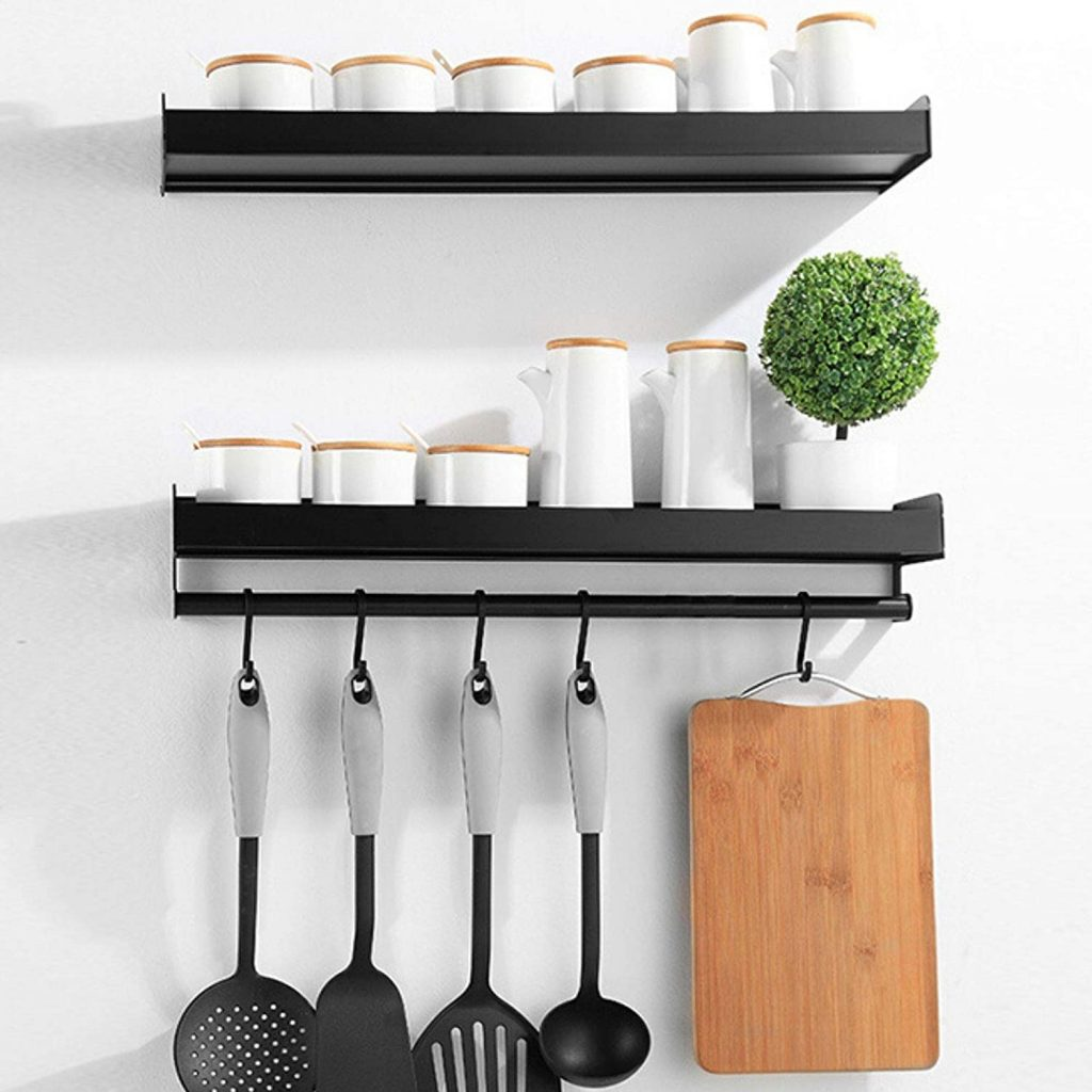 kitchen wall shelves with utensil hooks for spices or mugs