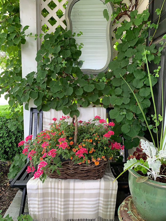 front porch decor and gardening containers