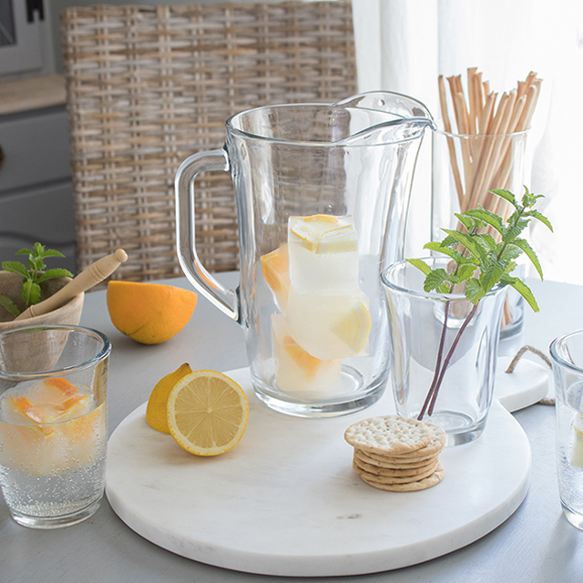 glass pitcher set and how to make flavored ice using large ice cube trays