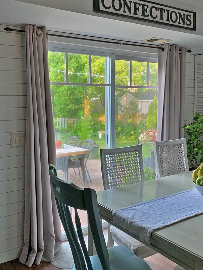 sliding glass patio doors - DIY makeover using window grids or grills and the perfect window treatments