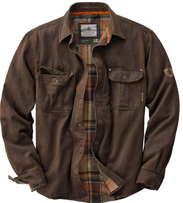 mens flannel lined shirt jacket