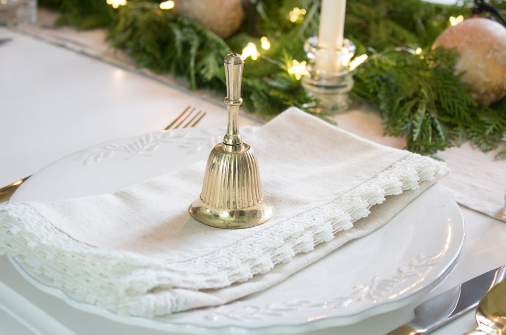 Christmas place setting gold bells