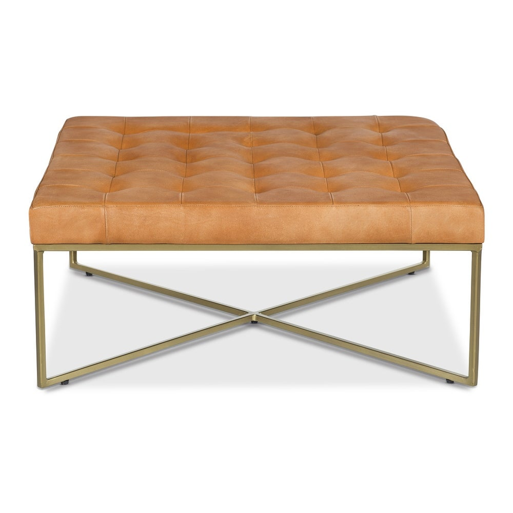 camel colored leather ottoman