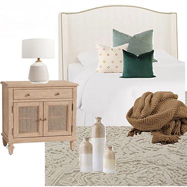 Neutral bedroom decor design board