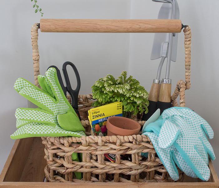 basket of gardening supplies