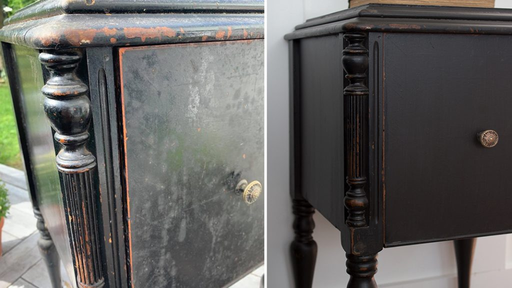 before and after black painted table