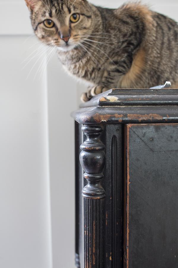 painting furniture black and distressed