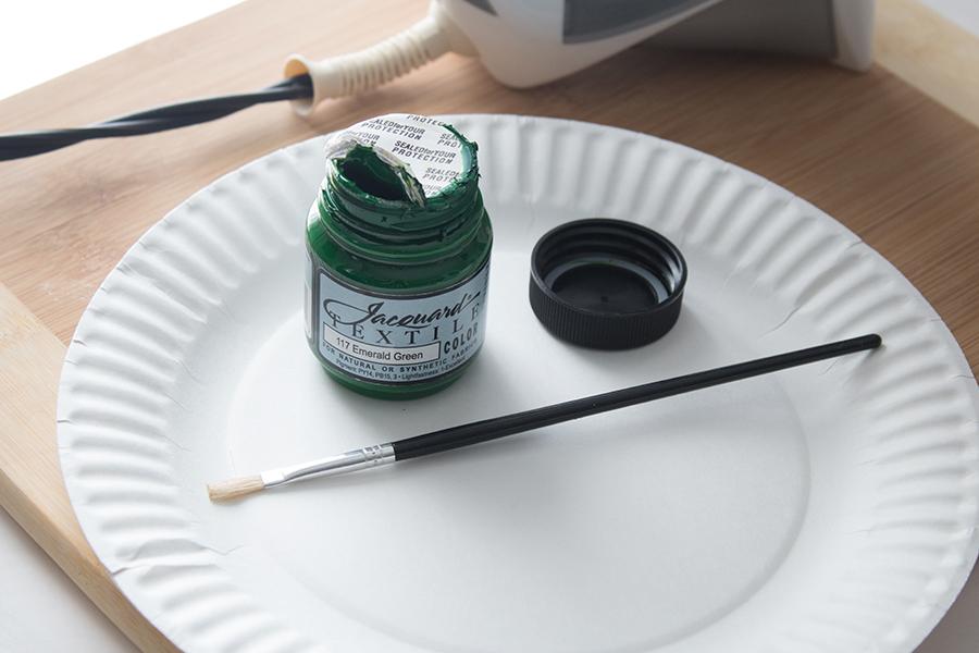 green fabric paint