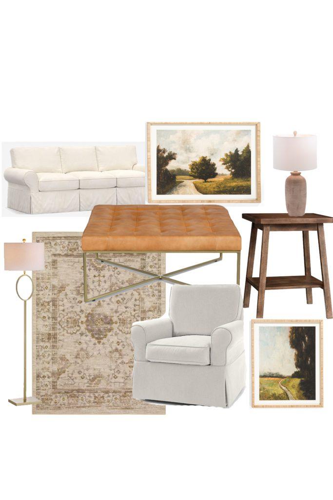 eclectic living room design board