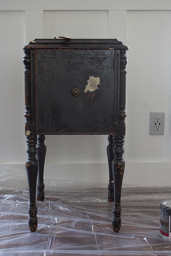 how to paint furniture black distressed