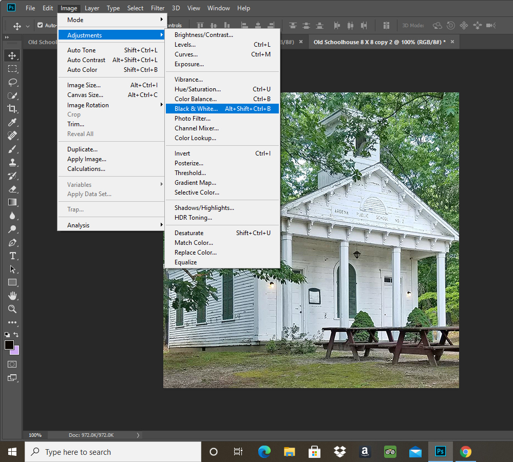 editing an old church photo