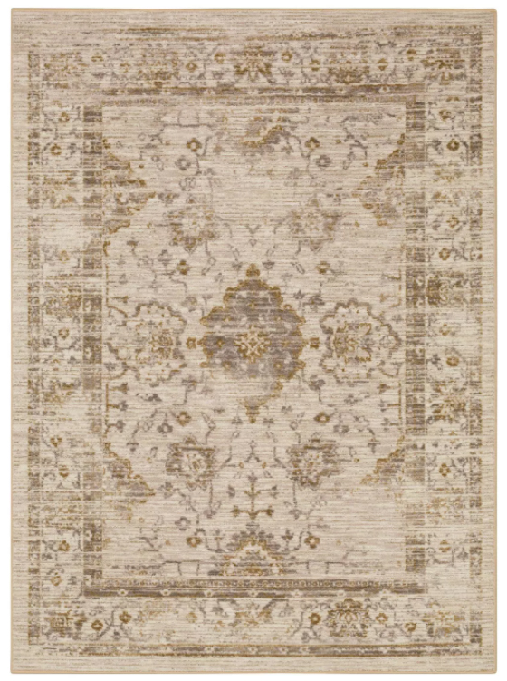 living room area rug in warm colors