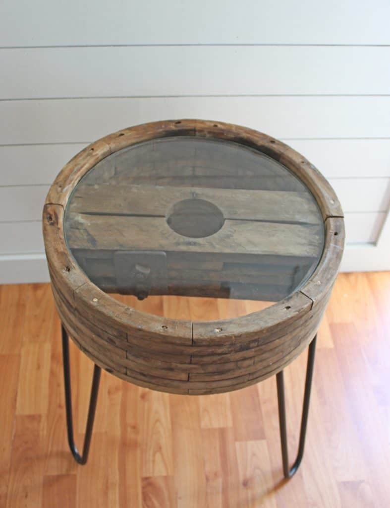 DIY Table ideas farmhouse style end table made from an old wheel