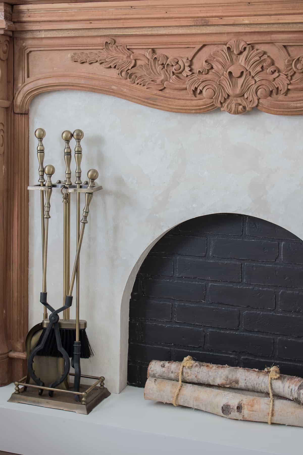 roman clay fireplace