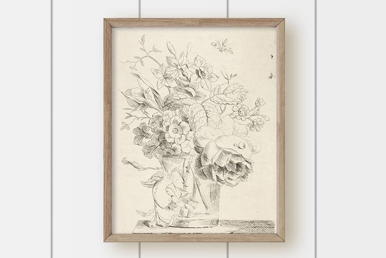 botanical art prints black and white