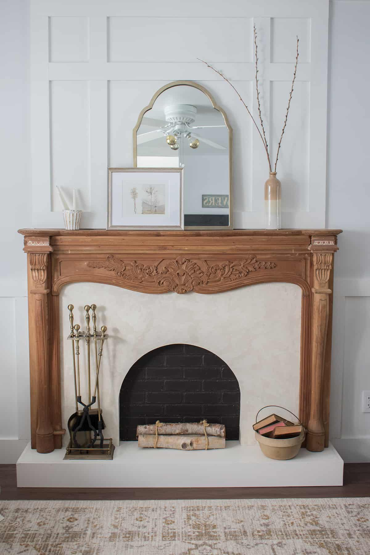 wood mantel roman clay surround and hearth idea