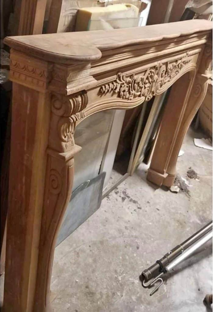 wood fireplace mantel from Facebook marketplace