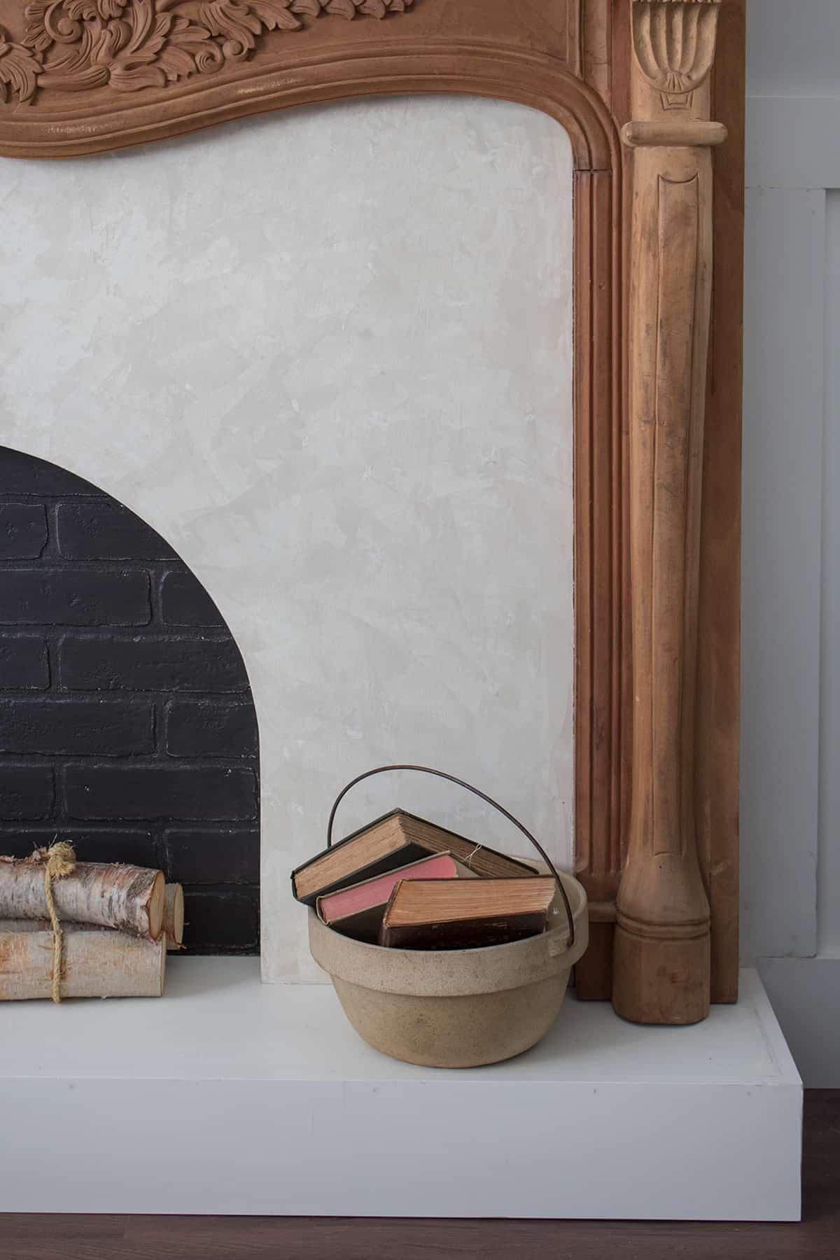 Roman Clay Fireplace DIY