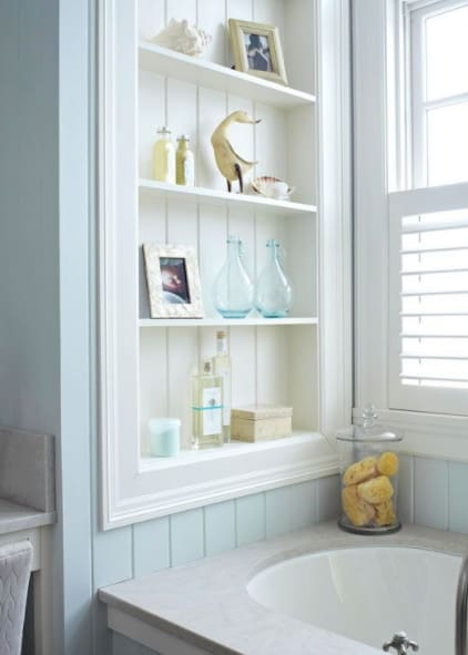 shelves between the studs small space decorating ideas bathroom
