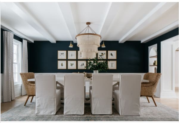blue and white formal dining room