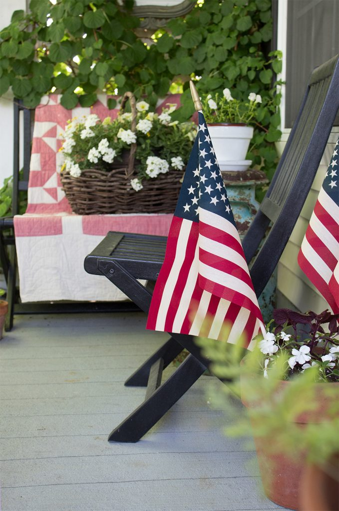 Patriotic porch decor for the fourth of july and Memorial day