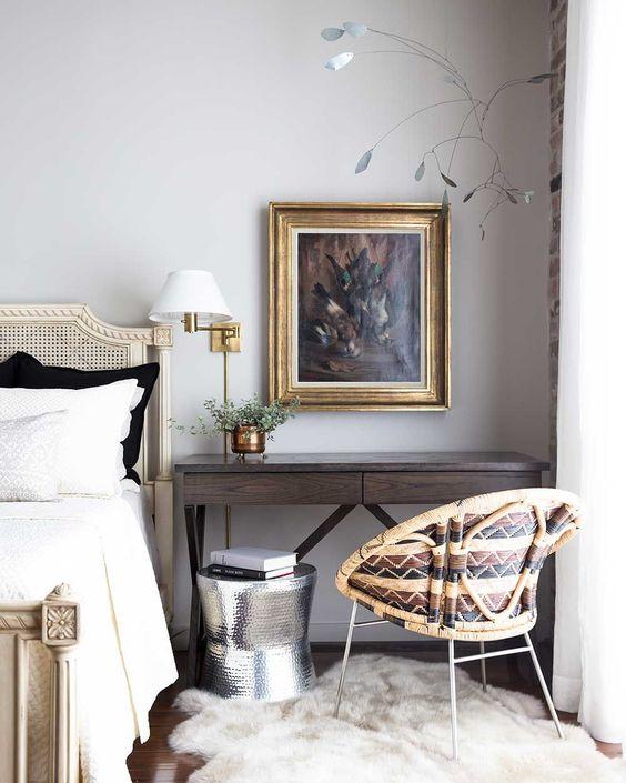 desk as nightstand in bedroom