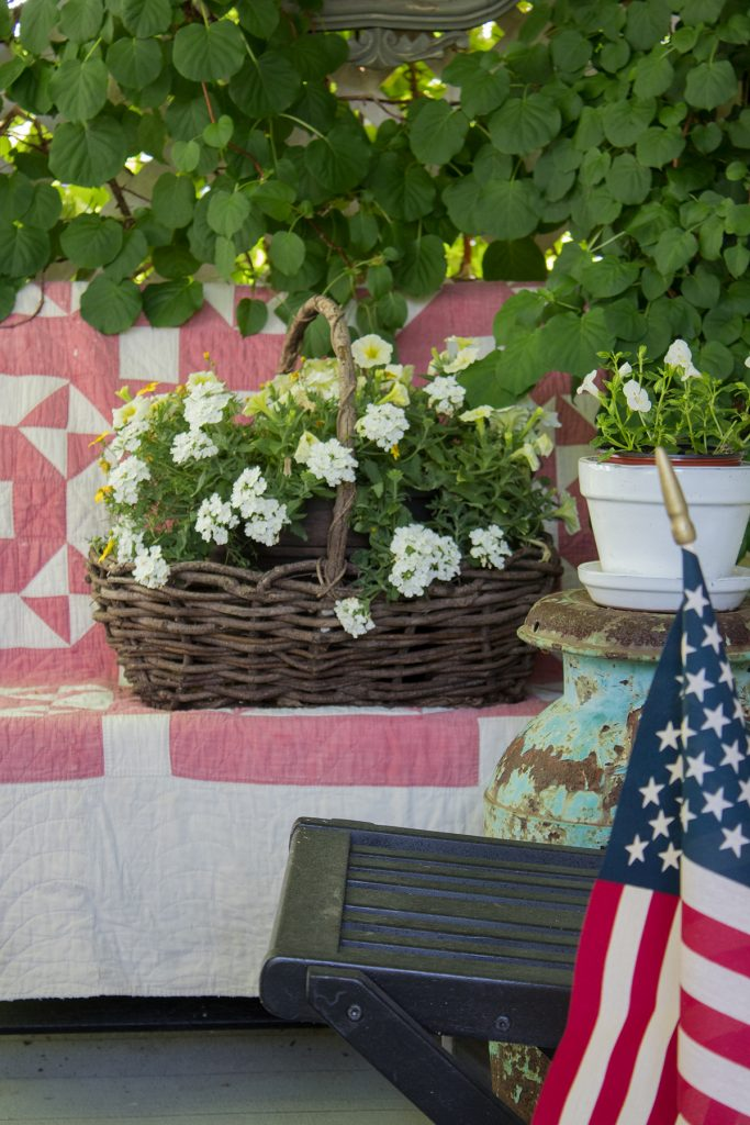 Easy Patriotic porch decor for the fourth of july and Memorial day