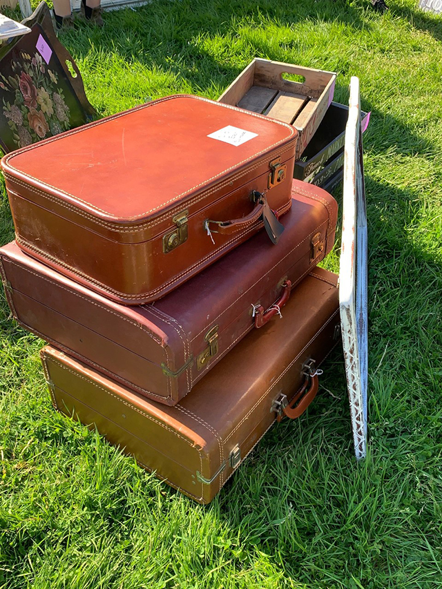 vintage stacked suitcases