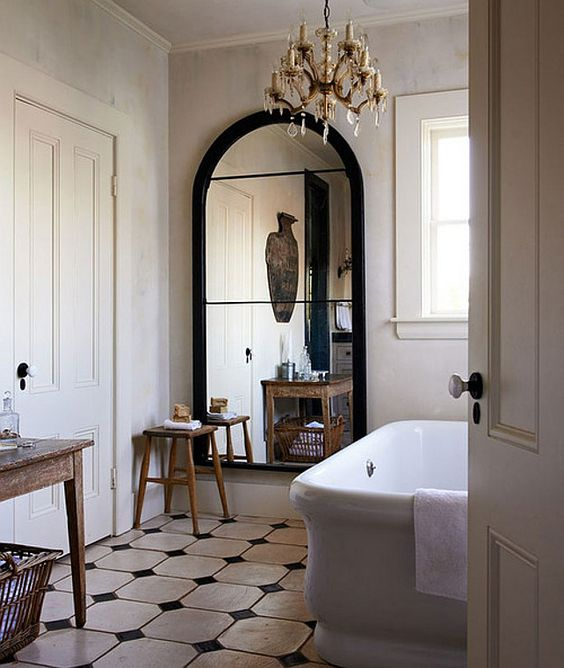 French interior design bathroom with checkered floors