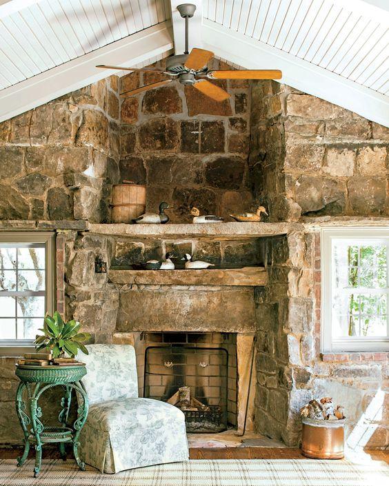 fireplace with original stonework details