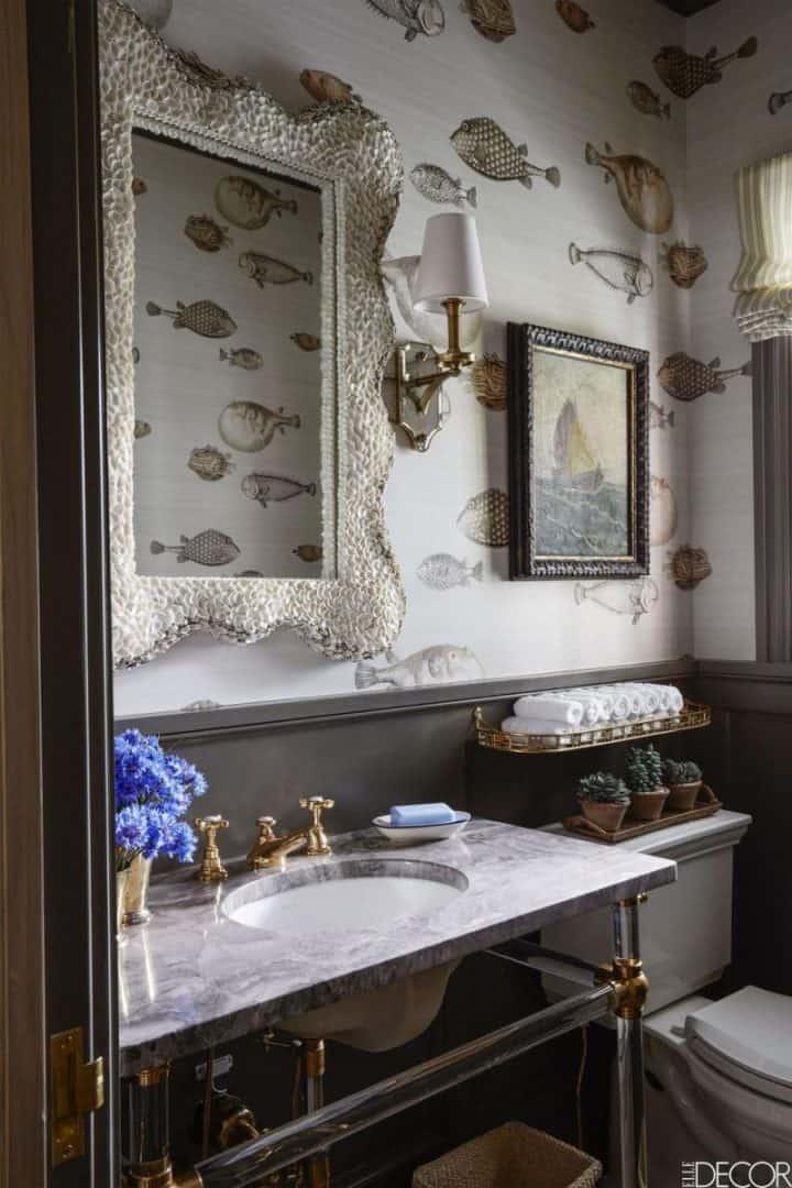 coastal interior design : bathroom decorating and wallpaper