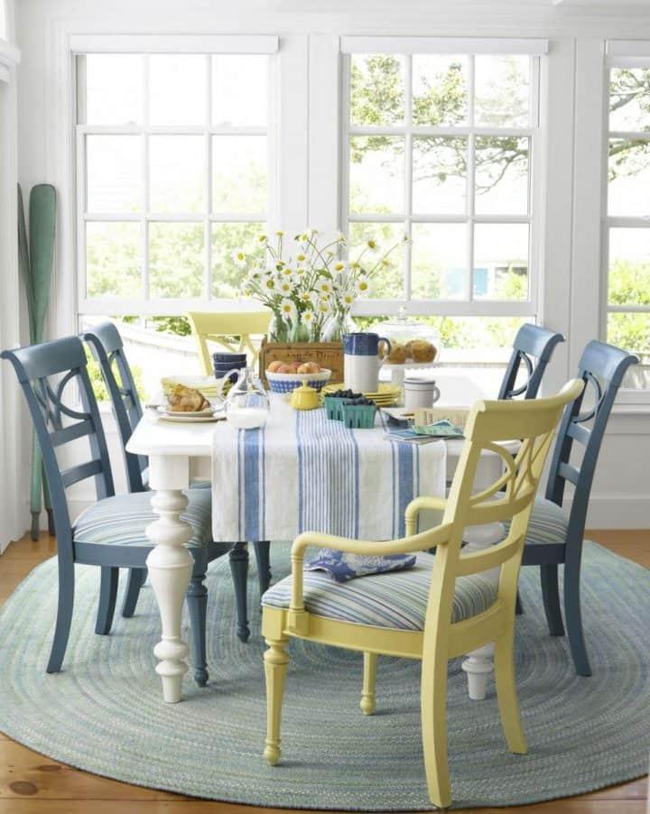light and bright beachy dining room decor