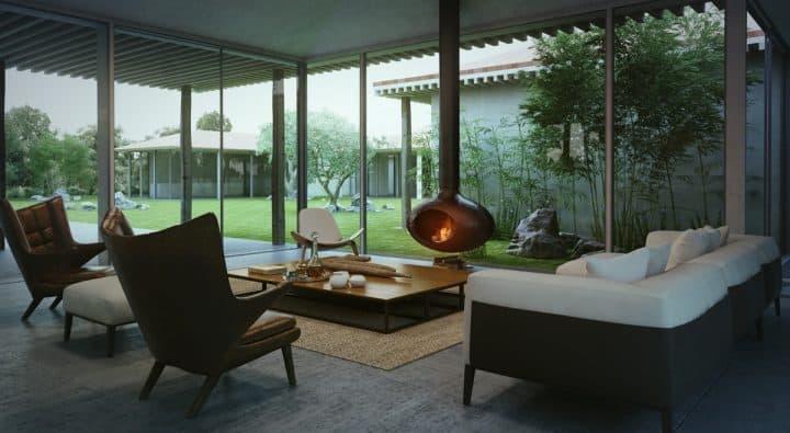 mid centry modern designed living room